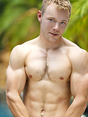 Young sexy jock posing naked outdoors